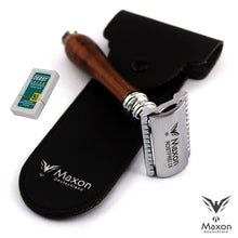 Load image into Gallery viewer, Buy Online Latest Premium Quality MAXON SWH wood Safety Razor with Blades and Leather case  - The Preferred Bird
