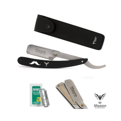 Buy Online Latest Premium Quality Maxon MR Black Straight Razor set stainless steel shaving set  - The Preferred Bird