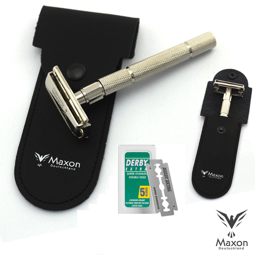 Buy Online Latest Premium Quality MAXON SLH Safety Razor with Blades and Leather case  - The Preferred Bird