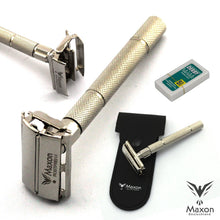 Load image into Gallery viewer, Buy Online Latest Premium Quality MAXON SLH Safety Razor with Blades and Leather case  - The Preferred Bird