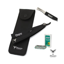 Load image into Gallery viewer, Buy Online Latest Premium Quality Maxon EN Black Straight Razor set stainless steel shaving set  - The Preferred Bird