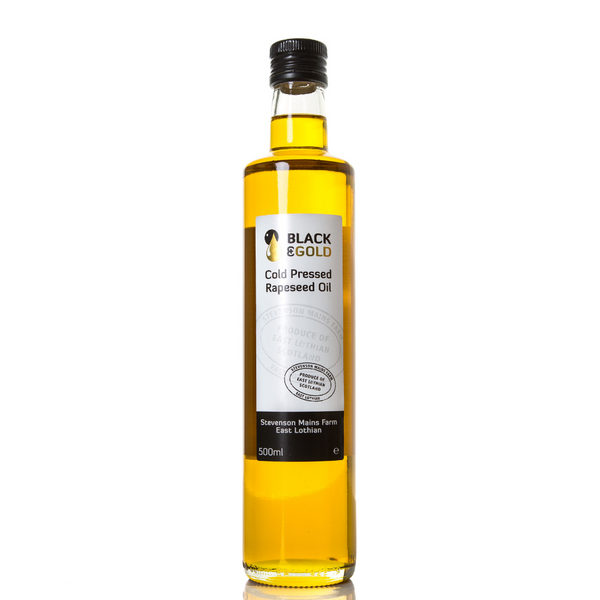 Black & Gold Cold Pressed Rapeseed Oil - Made in Haddington - 500ml