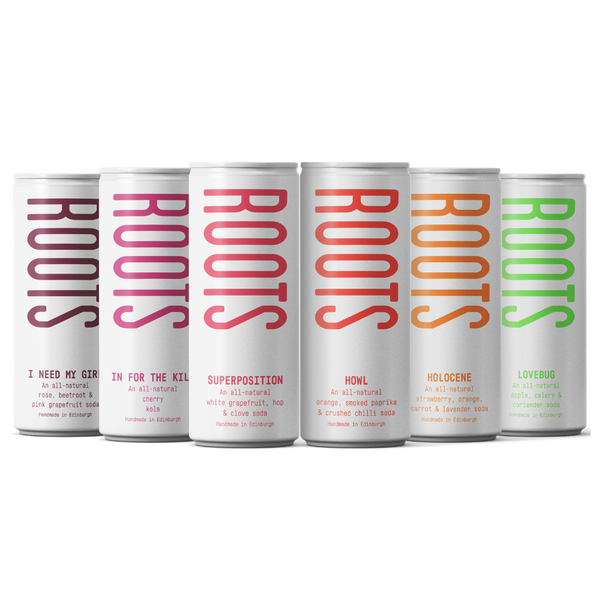 Roots Soda Co - Mixed Case- Low Sugar Soda Made in Edinburgh - 6 pack x250ml