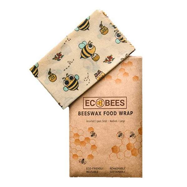 Beeswax Food Wrap - Eco Alternative to Plastic Food Wrap - 3 Sheets