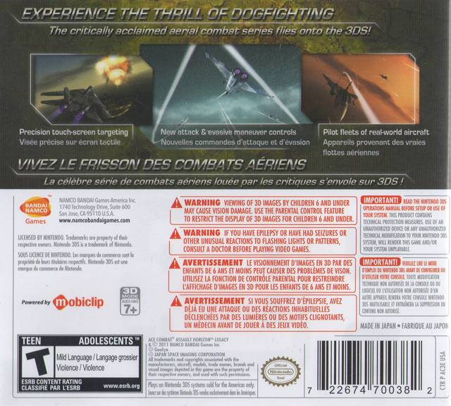 Assault Horizon Legacy Nintendo 3DS Back Cover