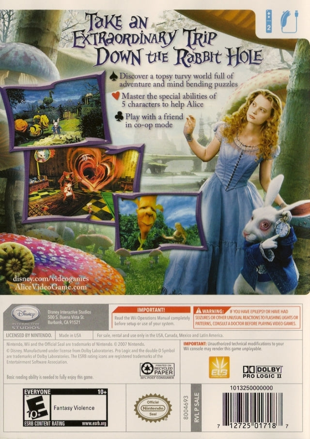 Alice in Wonderland Wii Back Cover