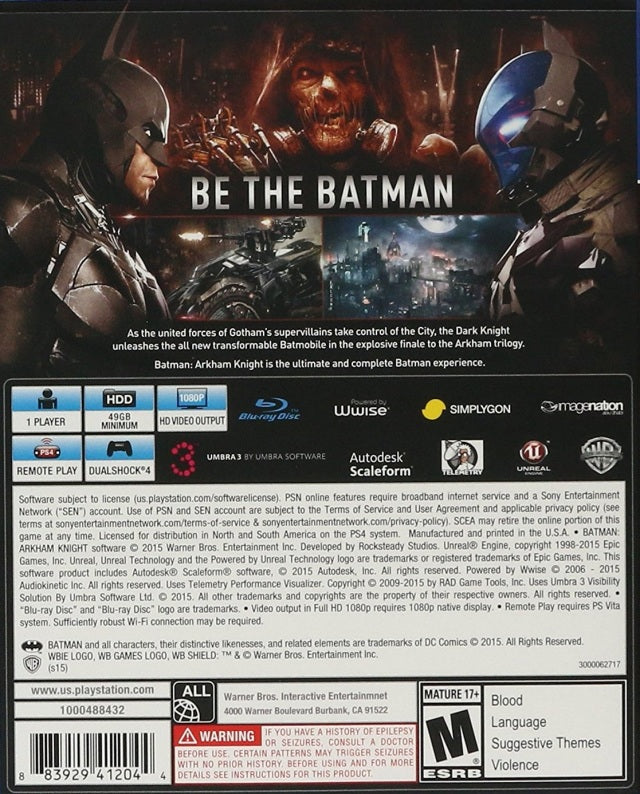 Batman Arkham Knight Playstation 4 Back Cover