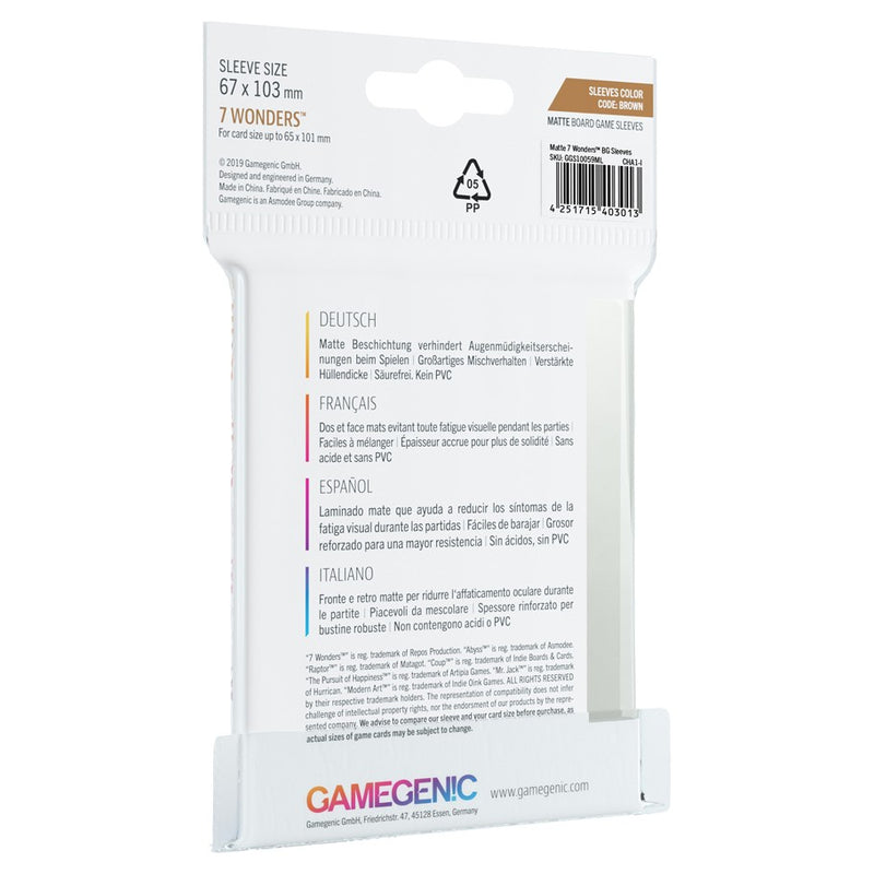 GameGenic Matte Board Game Sleeves Color Code Brown