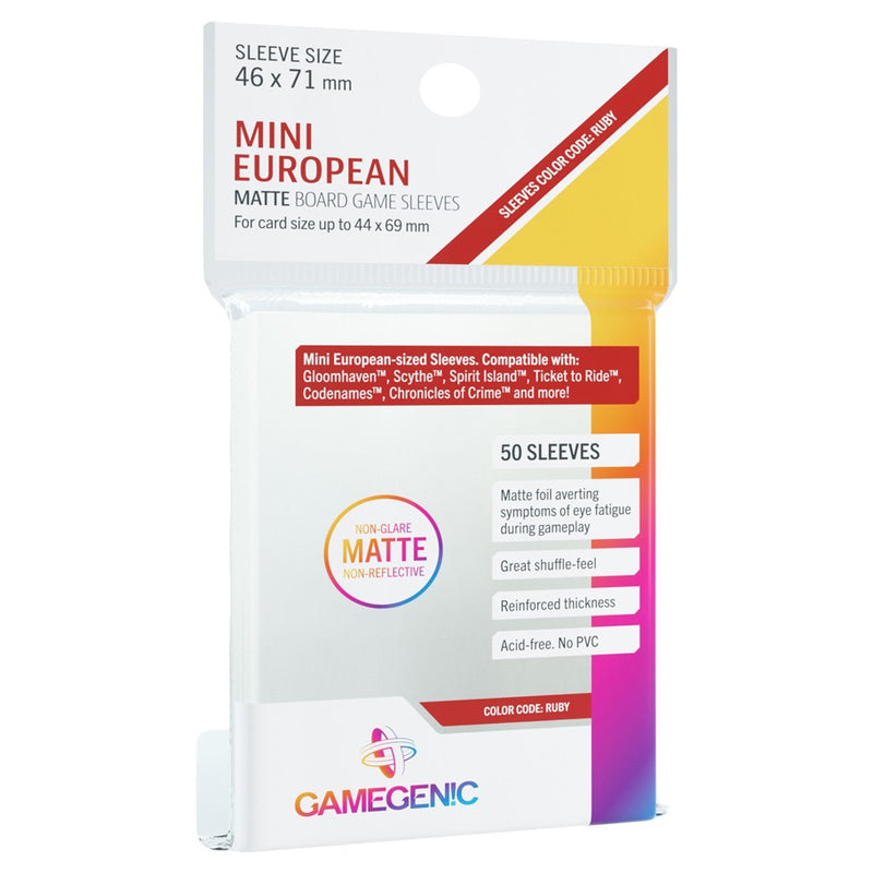 GameGenic Matte Board Game Sleeves Mini European color Code Ruby