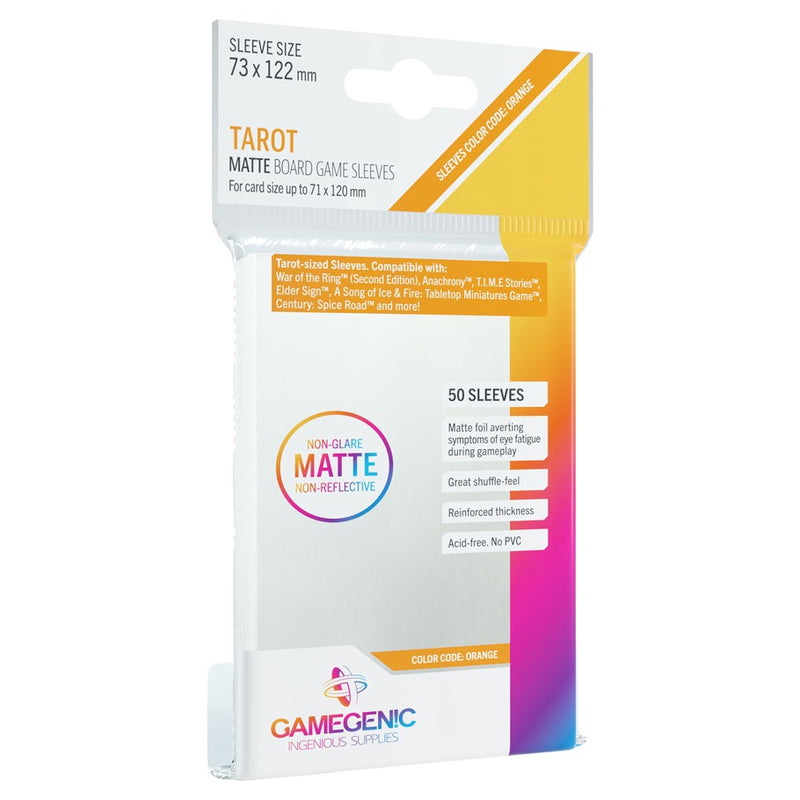 Matte Board Game Sleeves Color Code Orange Tarot Sized Sleeves