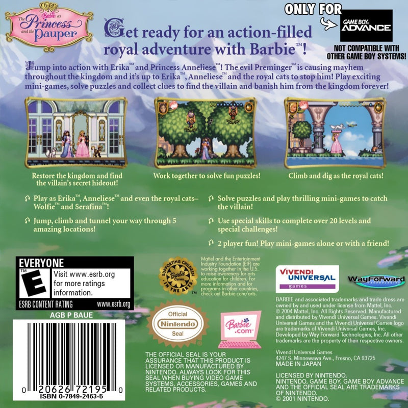 Barbie The Princess and the Pauper Nintendo Gameboy Advance Back Cover