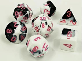 Lab Dice 4 Gemini Polyhedral Black-White/Pink 7-Die Set