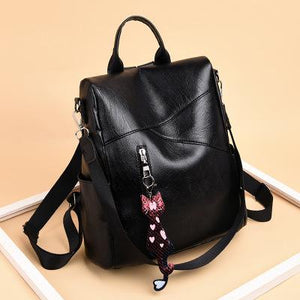 Black Leather Backpack for Women Backpack Purse Casual Daypack for Women
