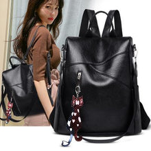 Load image into Gallery viewer, Black Leather Backpack for Women Backpack Purse Casual Daypack for Women