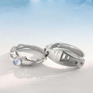 Moonstone Princess and Knight Lovers Ring