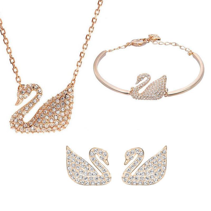 Fashion hot sale swan bracelet necklace earrings set