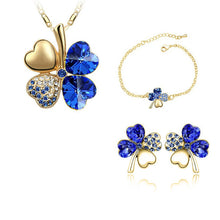 Load image into Gallery viewer, Four-leaf clover crystal jewelry set
