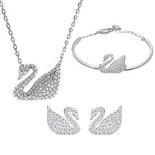 Load image into Gallery viewer, Fashion hot sale swan bracelet necklace earrings set