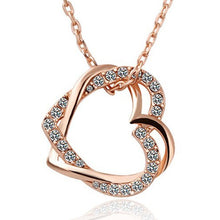 Load image into Gallery viewer, Fashion double peach heart necklace