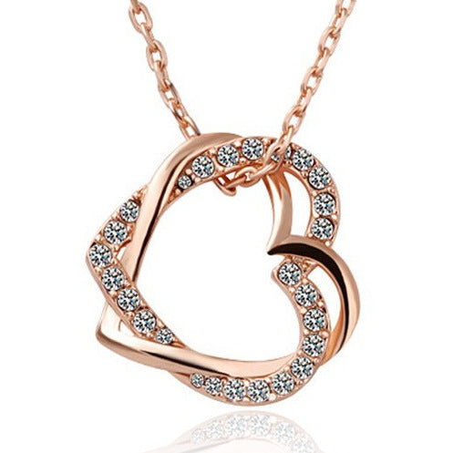 Fashion double peach heart necklace