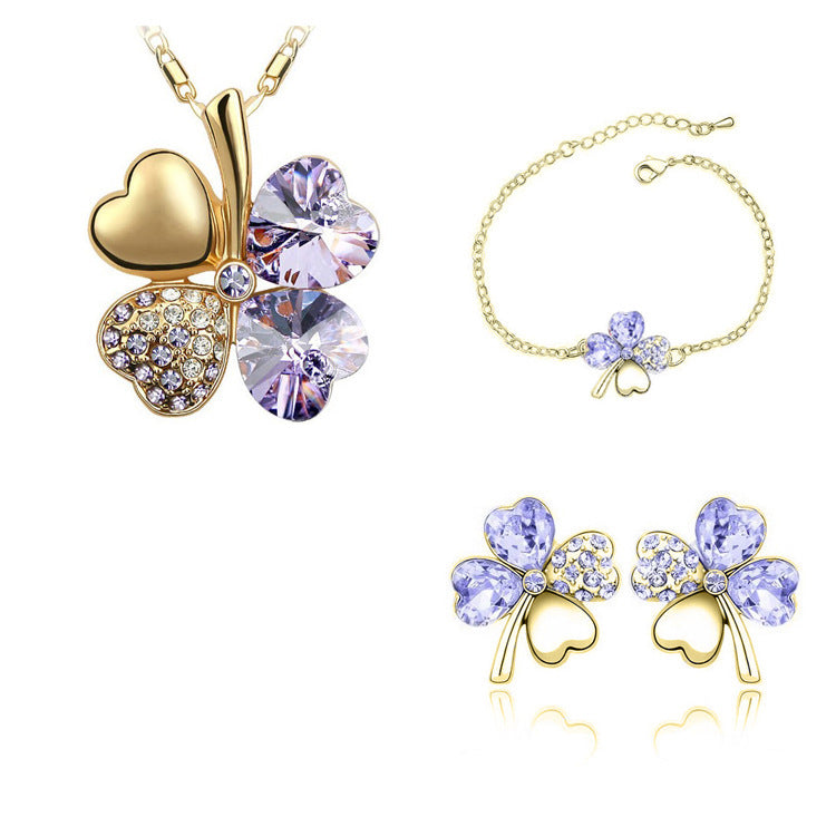 Four-leaf clover crystal jewelry set