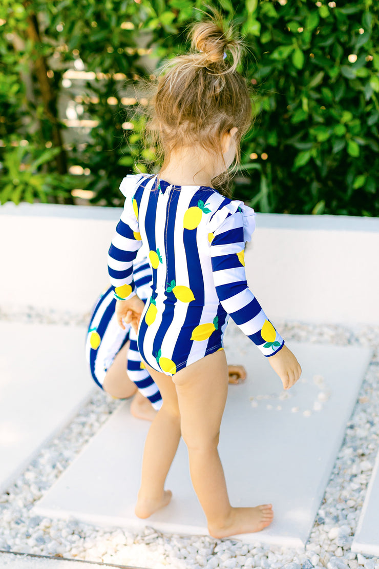 The Mia Rashguard In Navy Lemon Grove - BONBON SWIM