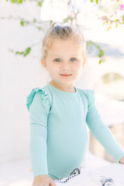 Shoulder Ruffle Rashguard In Seafoam Green