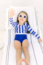 The Capri In Classic Navy Stripes - BONBON SWIM