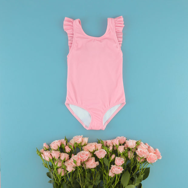 The Riley Ruffle One Piece in Darling Pink