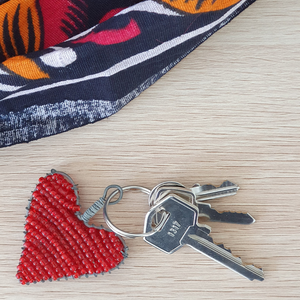 Beaded Heart Keyring