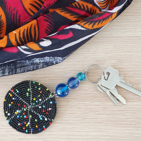 Beaded Round Keyring