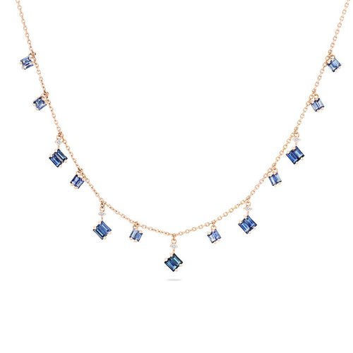 18K Rose Gold Blue Sapphire Cascade Dangle Necklace