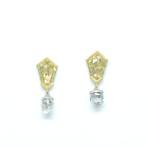 Yellow Diamond Earrings with Dangling Briolette