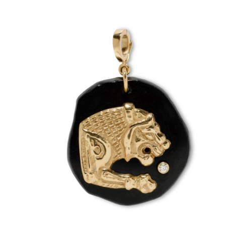 Small Lion Black Jade Amulet