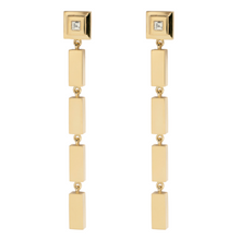 Load image into Gallery viewer, Gold Bar Carre Diamond Staircase Drop Earrings