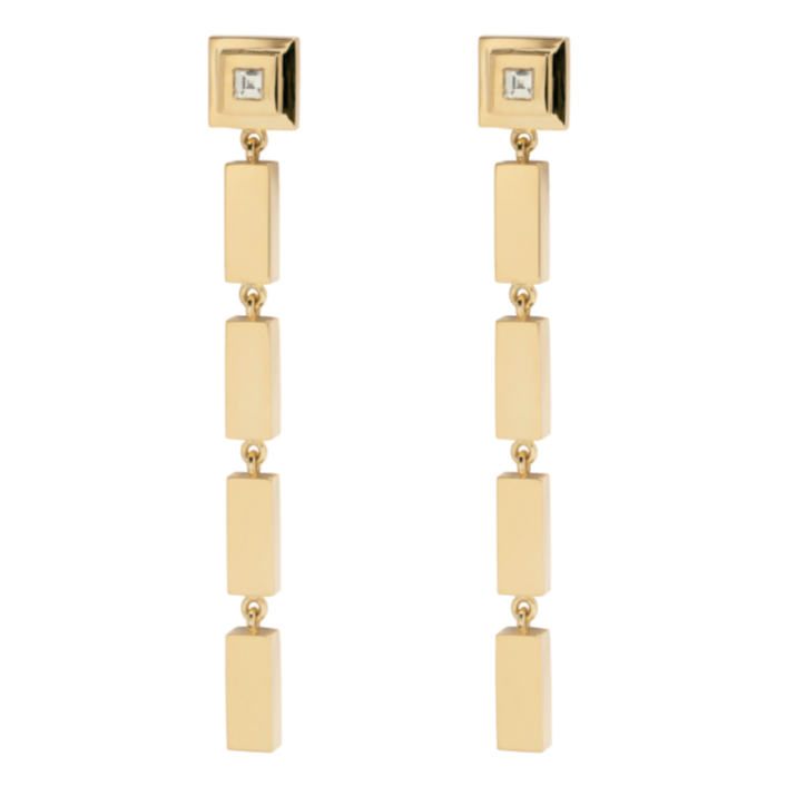 Gold Bar Carre Diamond Staircase Drop Earrings