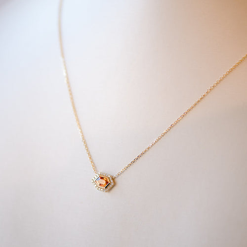 14K Yellow Gold Mosaic Shape Midi Neck - Orange Hexagon
