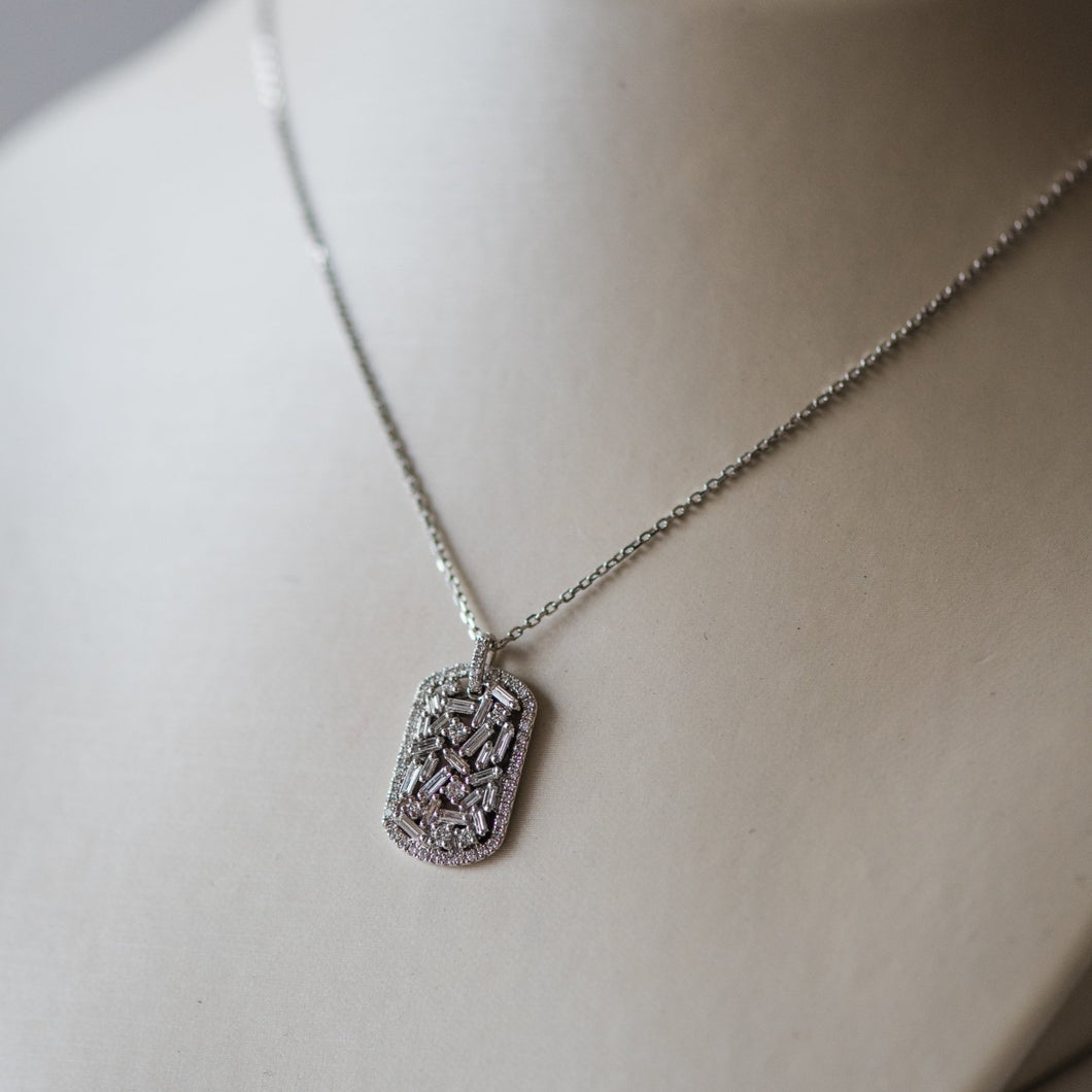 18K White Gold Mini Dog-Tag Necklace