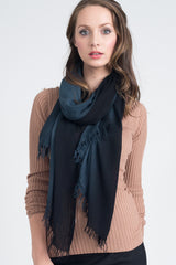 Hand Dyed Cashmere Modal Blend Scarf in Black Ombre
