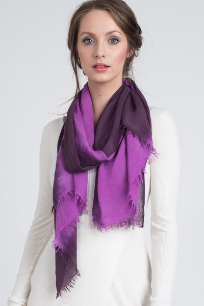 Hand Dyed Cashmere Modal Blend Scarf in Raisin/Orchid Ombre
