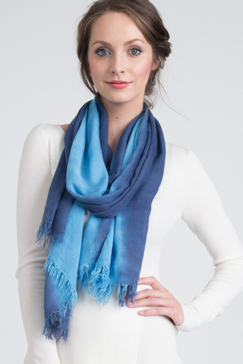Hand Dyed Cashmere Modal Blend Scarf in French Blue Ombre