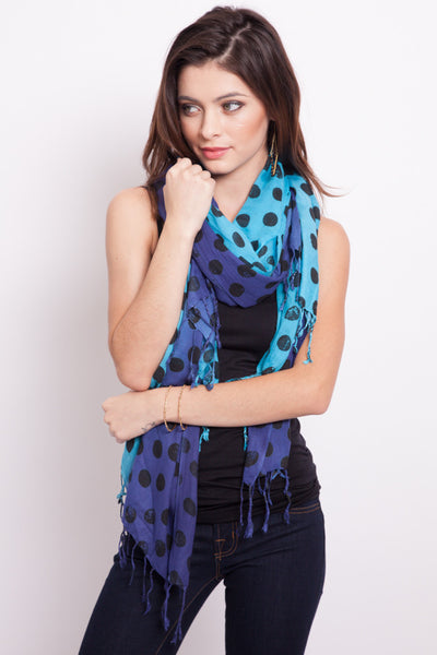 Polka Dot Scarf –Turquoise/Periwinkle - Secret