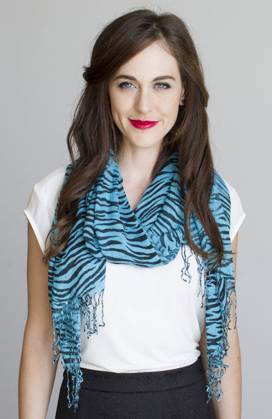 Animal Print Scarf in Zebra Turquoise