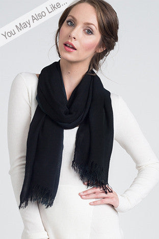 Hand Dyed Cashmere Modal Blend Scarf in Solid Black