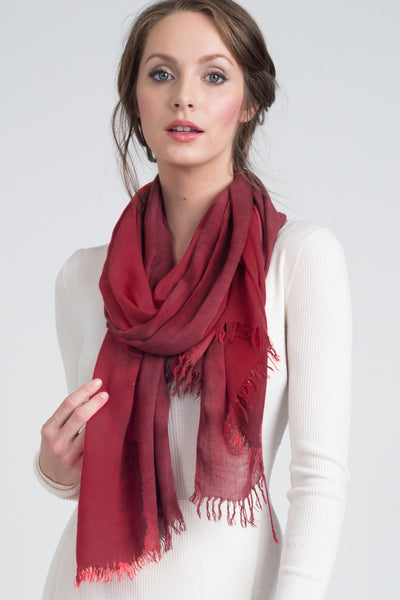 Hand Dyed Cashmere Modal Blend Scarf in Solid Cherrywood