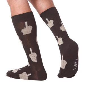 Mens Middle Finger Sock, Black