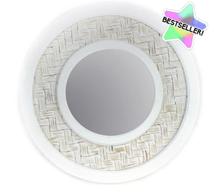 White Wash Rattan Mirror