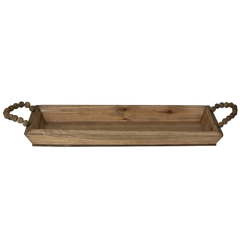 Beaded Handle Wooden Tray, Large