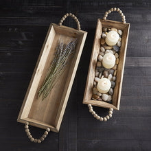 Load image into Gallery viewer, Beaded Handles Wooden Tray, Small