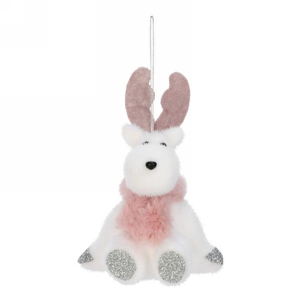 Reindeer with Pink Scarf Ornament